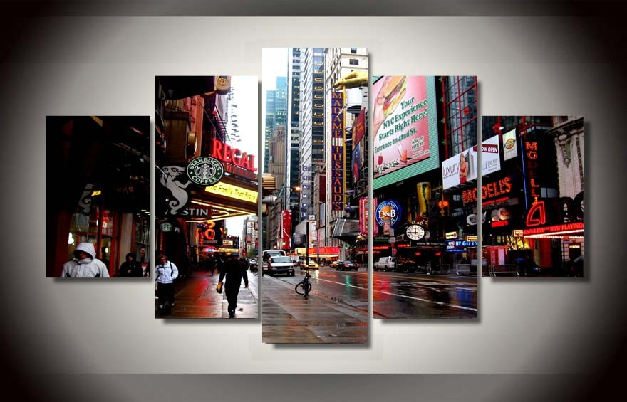 ᗑ5 panel large poster printed painting Starbucks Street View canvas ...