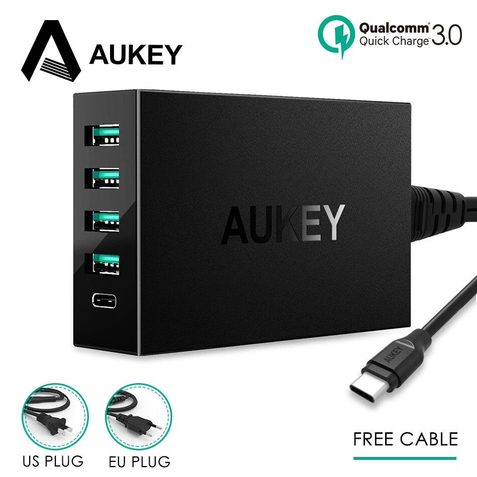 AUKEY 5 ports USB Charge rapide QC 3.0 Multi USB Turbo rapide chargeur mural Type C Station de Charge téléphone bureau gratuit C à C câble