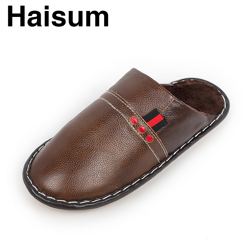 Men 's Slippers Winter genuine Leather Home Indoor Non - Slip Thermal Slippers 2018 New Hot Haisum Tb017 men s slippers winter pu leather home indoor non slip thermal slippers 2018 new hot haisum h 8007