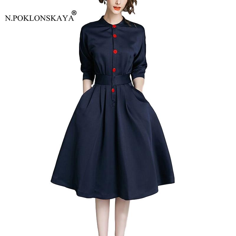 €21.95 16% de DESCUENTO Oficina Vintage vestido de la rodilla de longitud  botones manga tres cuartos elegantes vestidos con bolsillos, mujer falda  una ...