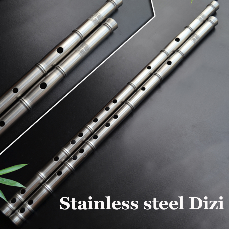 цены  Handmade Quality 304 Stainless Steel Flute Chinese Traditional Dizi in F key Professional Musical Instrument Self-defense Weapon
