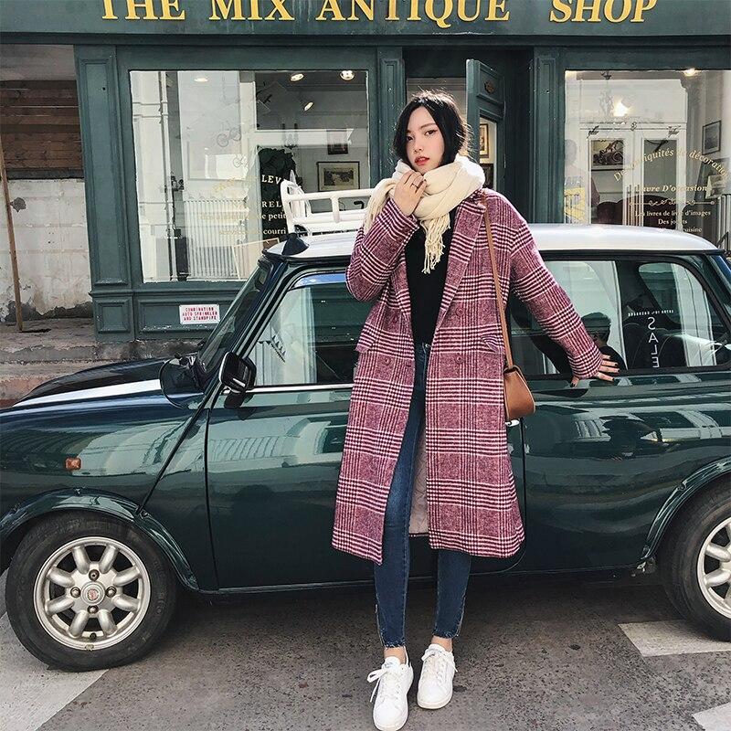 Для женщин Повседневное плед длинное пальто длинные рукава шерстяные пальто Свободные пиджаки женские зимние осень Толщина теплые пальто