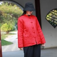 Coton Lin Broderie style Chinois Hiver Manteau Femmes Vintage Épais Chaud Veste D'hiver Femmes Lâche Occasionnel Outwear Manteau C146