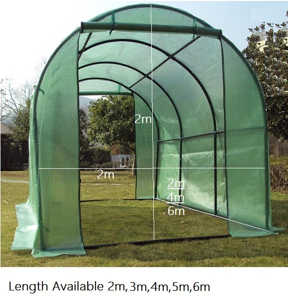 Walk-in Grow arc with Tubular Steel Frame and Reinforced Plastic Cover(Polyethylene), Cold Frame Greenhouse, Brackets Hardware