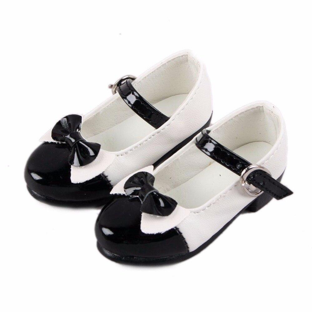 Black Lace-up Bowknot Fairlady Leather Shoes For 1/4 MSD BJD Dollfie 1 3 1 4 1 6 1 8 1 12 bjd wigs fashion light gray fur wig bjd sd short wig for diy dollfie