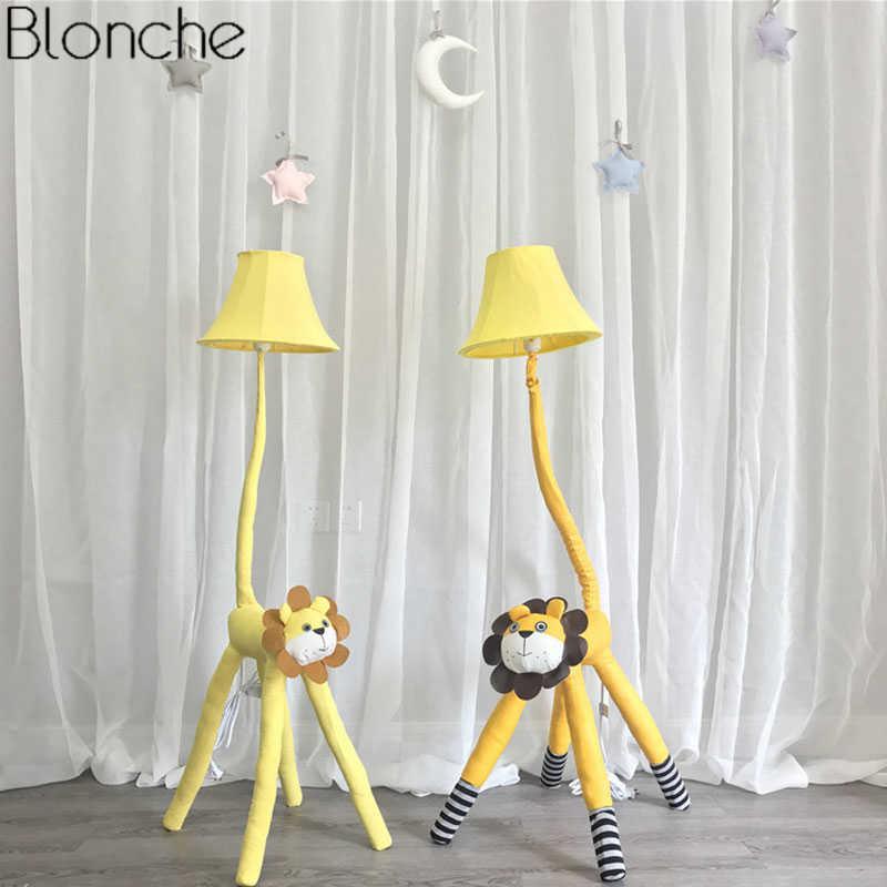 accesorio de dibujos lámpara soporte de para luz niños lámpara Moderna dormitorio para pantalla pie tela habitación de animales animados Led de de el 2HEW9IDY