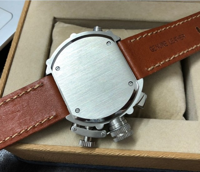 50mm PARNIS right hand crown White dial Automatic Self-Wind movement Auto Date Mens watch cow Leather strap PA8-P8