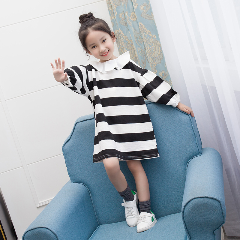 Girls Dress Autumn Children Clothing Kids Striped Dress Toddler Long Sleeve Princess Ruffles Collar Brand Fashion School Clothes original brand lalaloopsy dress yarn design false two dumbo sleeve queen girls party striped dress school girls princess dress