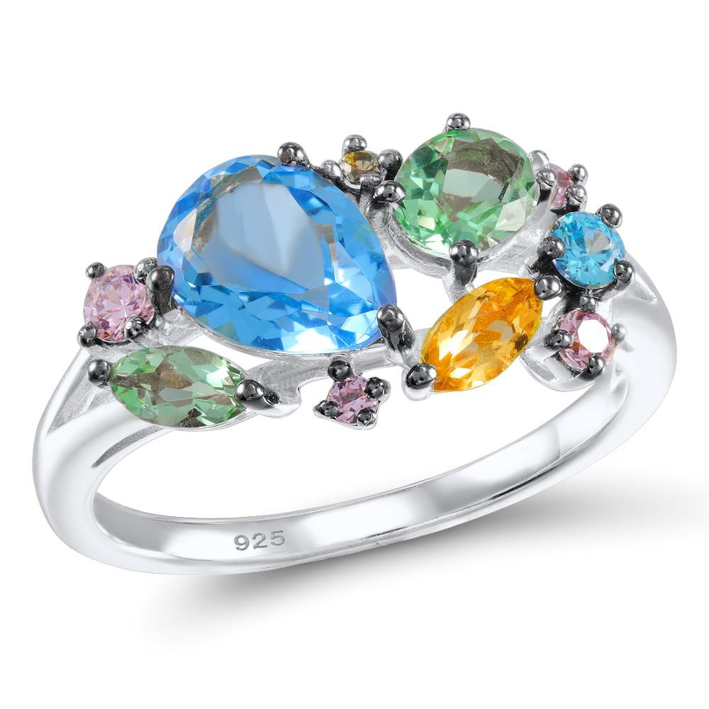 Image 3 - SANTUZZA Silver Ring For Women 925 Sterling Silver Shiny Multi Color Gem Stones for Women Elegant Party Fashion Jewelryring for women 925fashion rings for womenrings for women -