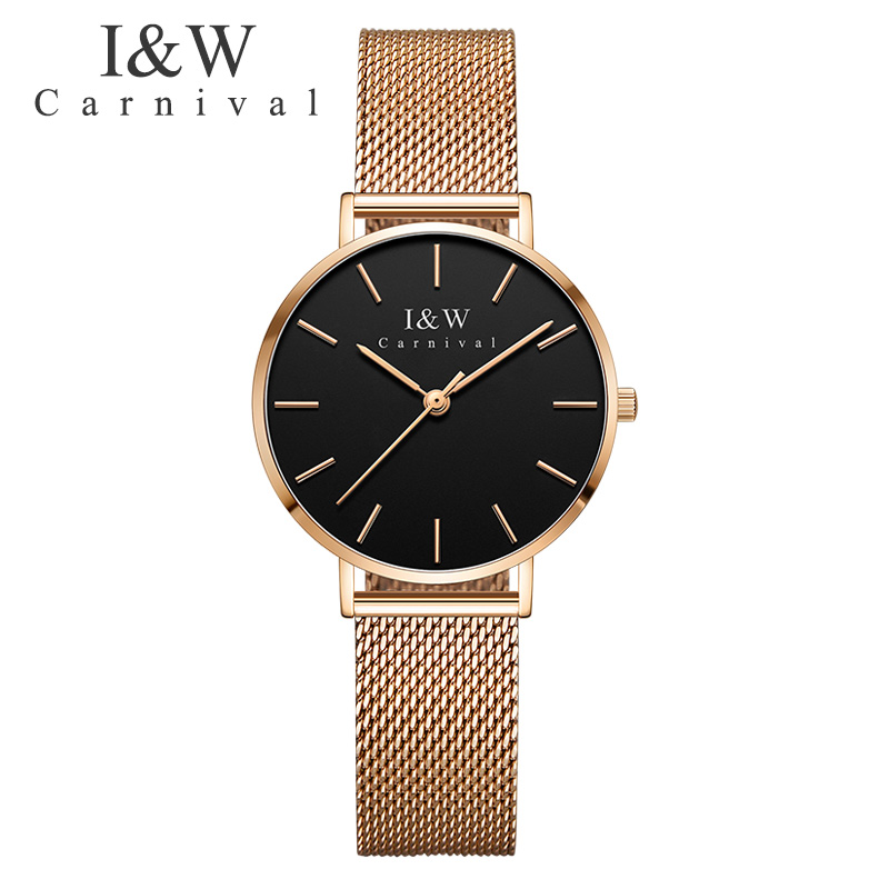 Carnival Wrist Watch Women Top Brand Luxury Ladies Quartz Watches I&W Waterproof Ultra-Thin 6MM Clock New Arrival reloj mujer