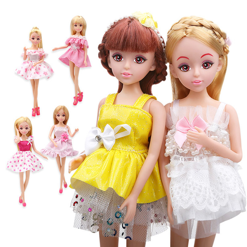 Genuine Lelia fashion dolls for girls gifts kawaii cute doll Dress Clothes Accessories Set pretend play toys for children kids