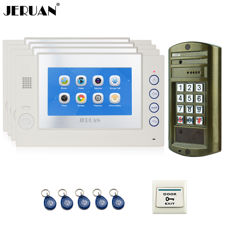 JERUAN NEW 7 inch Video Doorbell Record Intercom System kit 4 TOUCH Screen Monitor + Waterproof Password HD Mini Camera 1V4