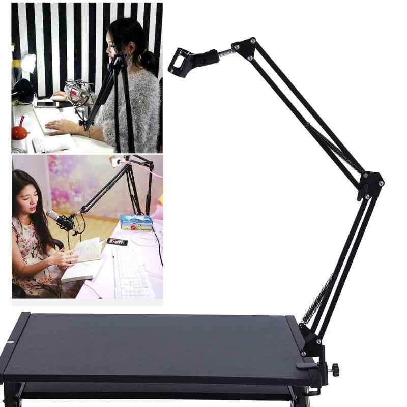 Stojak mikrofonowy uchwyt biurko pulpit zawieszenie stół nożycowy Yeti Snowball Radio mikrofon do nagrań telefon składany