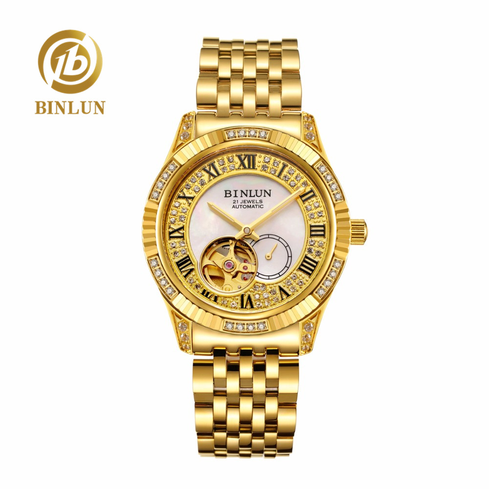 BINLUN Men's 18K Gold Skeleton Tourbillon Mechanical Automatic Wrist Watch Top brand Luxury Waterproof Business Watches for Men new mechanical hollow watches men top brand luxury shenhua flywheel automatic skeleton watch men tourbillon wrist watch for men