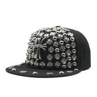 70ef25bc126 Janvancy Punk Baseball Caps Men Women Cross Rivet Hip Hop Hat Flat Bone  Snapbacks Steampunk Black