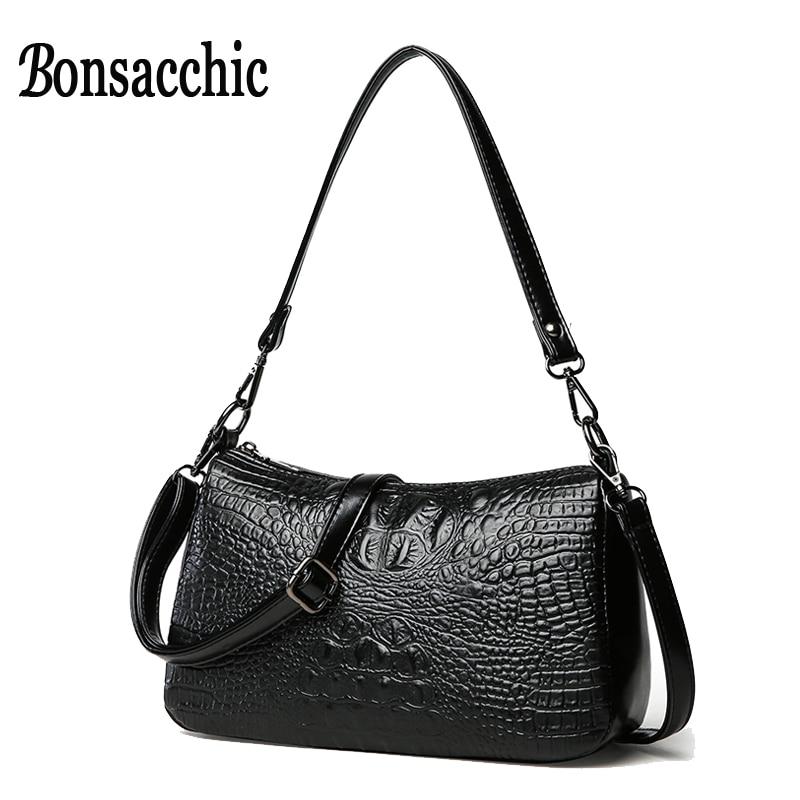 3b2eb96e5800 Bonsacchic Small Leather Bags Women Handbags Crocodile Black Hand Bag for  Women 2018 Luxury Handbags Women