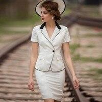 Женский комплект, офисный Женский комплект высокого качества из двух предметов, винтажный полосатый топ с короткими рукавами, мини юбка, од