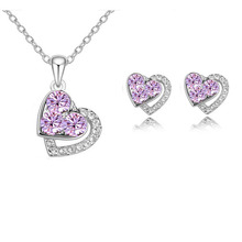 Crystal Heart Shaped Pendant Necklace