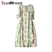 النساء اللباس 100% الكتان خمر الأزهار المطبوعة الصينية نمط فساتين 2019 جديد الربيع اللباس للنساء الركبة طول