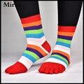 1 par rainbow stripe novidade engraçado tornozelo cinco dedos meias para meninas
