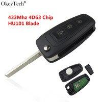 Okeytech Nuovo 3 Pulsante Smart Vibrazione Auto Chiave A Distanza Per Ford Focus Mk1 Mondeo Transit Fiesta Key 433 Mhz HU101 Lama Con 4D63 Chip