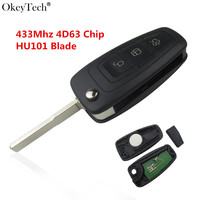 Okeytech New 3 Button Smart Flip Remote Car Key For Ford Focus Mk1 Mondeo Transit Fiesta