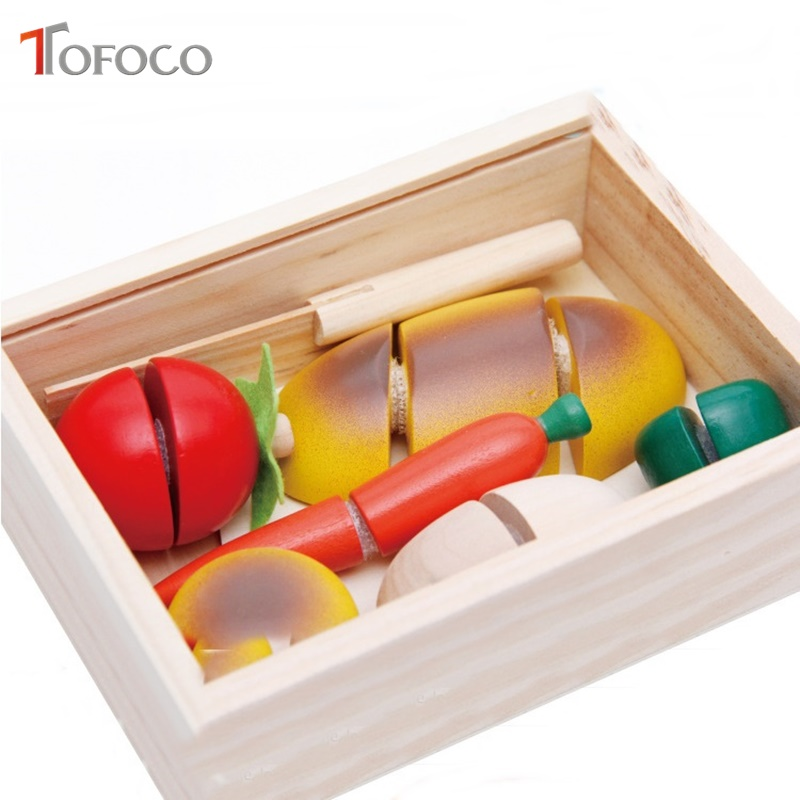 TOFOCO Wooden Kitchen Toys Cutting Fruit Vegetable Play Food Kids Wooden Toy Fruit Vegetables Puzzle Food Toy With Storage Box