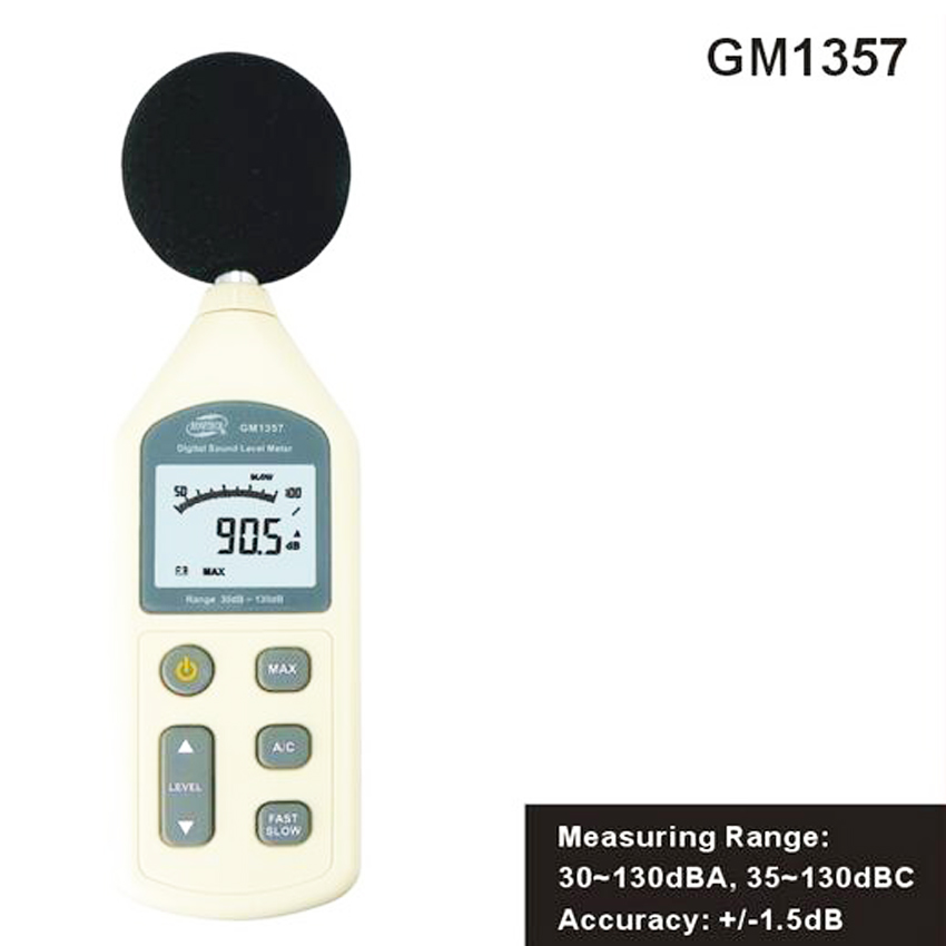 GM1357 Digital Sound Level meter ,LCD Sound Noise Level Meter Tester 30-130dB Decibel Pressure Free shipping nktech nk s1 digital lcd sound meter noise level 30 130db freq 31 5hz 8khz test sound level meter noise meter vs ms6708