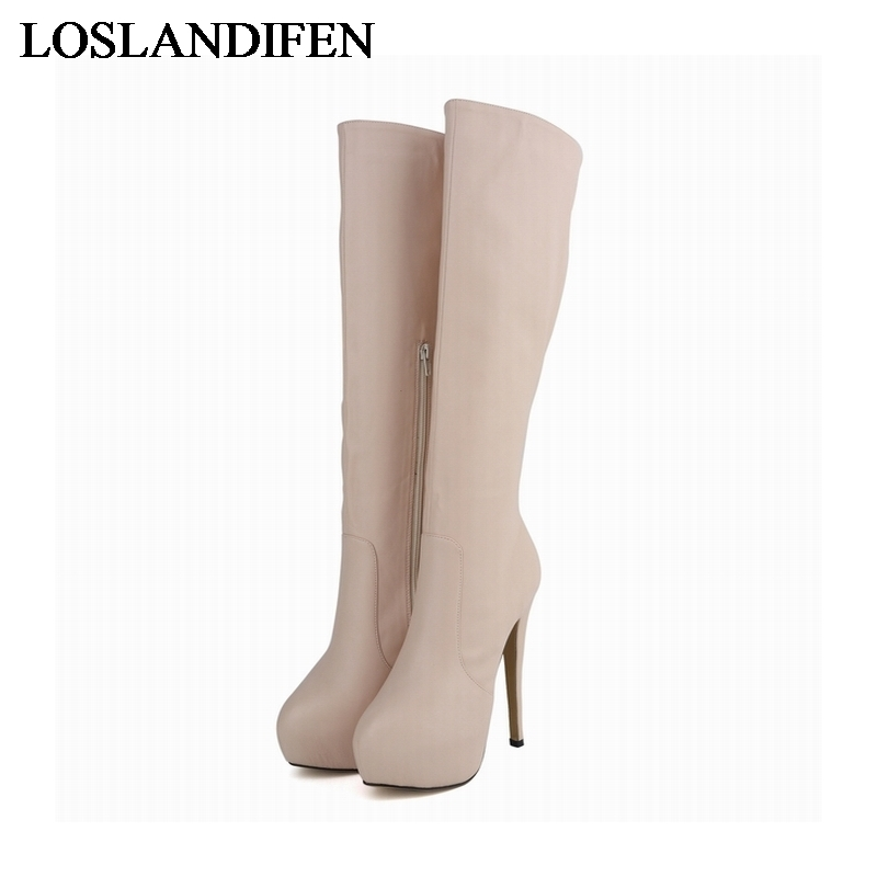 цены Big Size 34-42 New Fashion Women Boots Round Toe Sexy Winter Over The Knee High Boots Women Platform Boots Shoes NLK-A0054