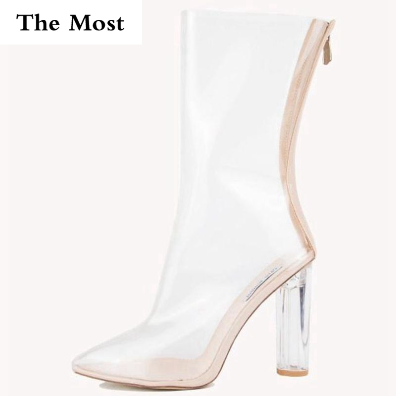 THEMOST 2017 Women Ankle Boots PVC Transparent Ankle Boots Clear Chunky Crystal High Heel Pointed-Toe Casual Shoes Woman Zipper