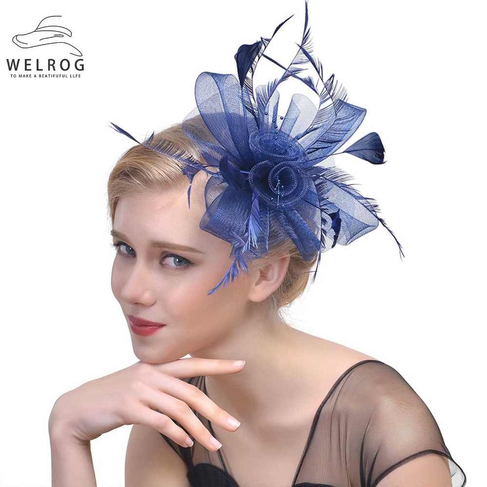 156d59cf ... WELROG Ladies Royal Fascinators Hat Bride Wedding Sinamay Cocktail  Fascinator Women Mesh Feather Top Hats Party ...