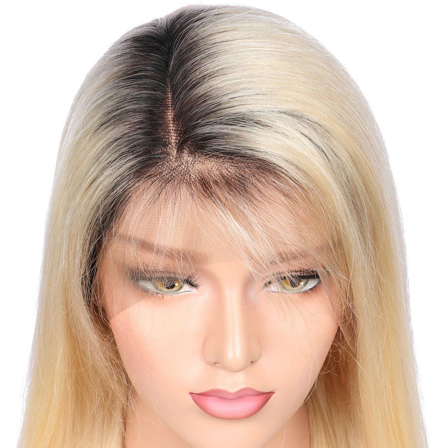 BEEOS #1bT#613 Glue Full Lace Wig With Baby Hair Pre Plucked Remy Ombre Blonde Human Hair Wigs Bleached Knots No Combs No Strape