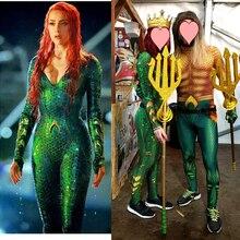 Women  Movie Aquaman Mera Queen Cosplay Costume Zentai Bodysuit Suit Jumpsuits halloween costume for girl