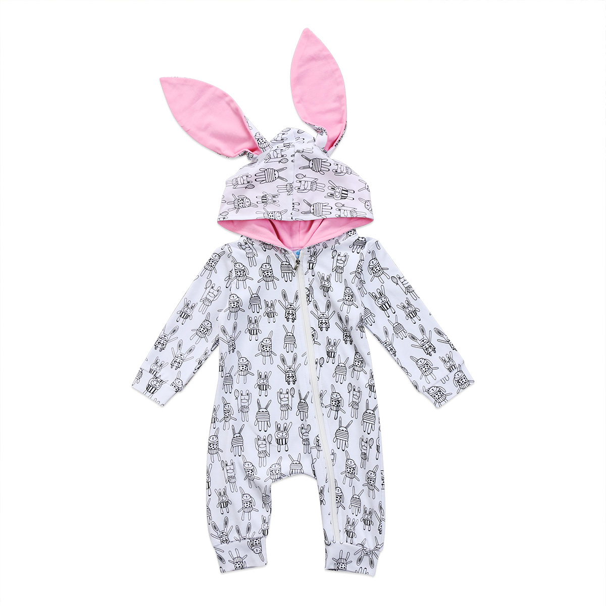 2017 Hot Bunny Long Ear Zipper Newborn Baby Girls Boys Rabbit Ears Romper Jumpsuit Outfits