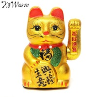KiWarm 1Pc Gold Shaking Hands Lucky Wealth Waving Cat Oranment For Home Office Decoration Wealth Fortune