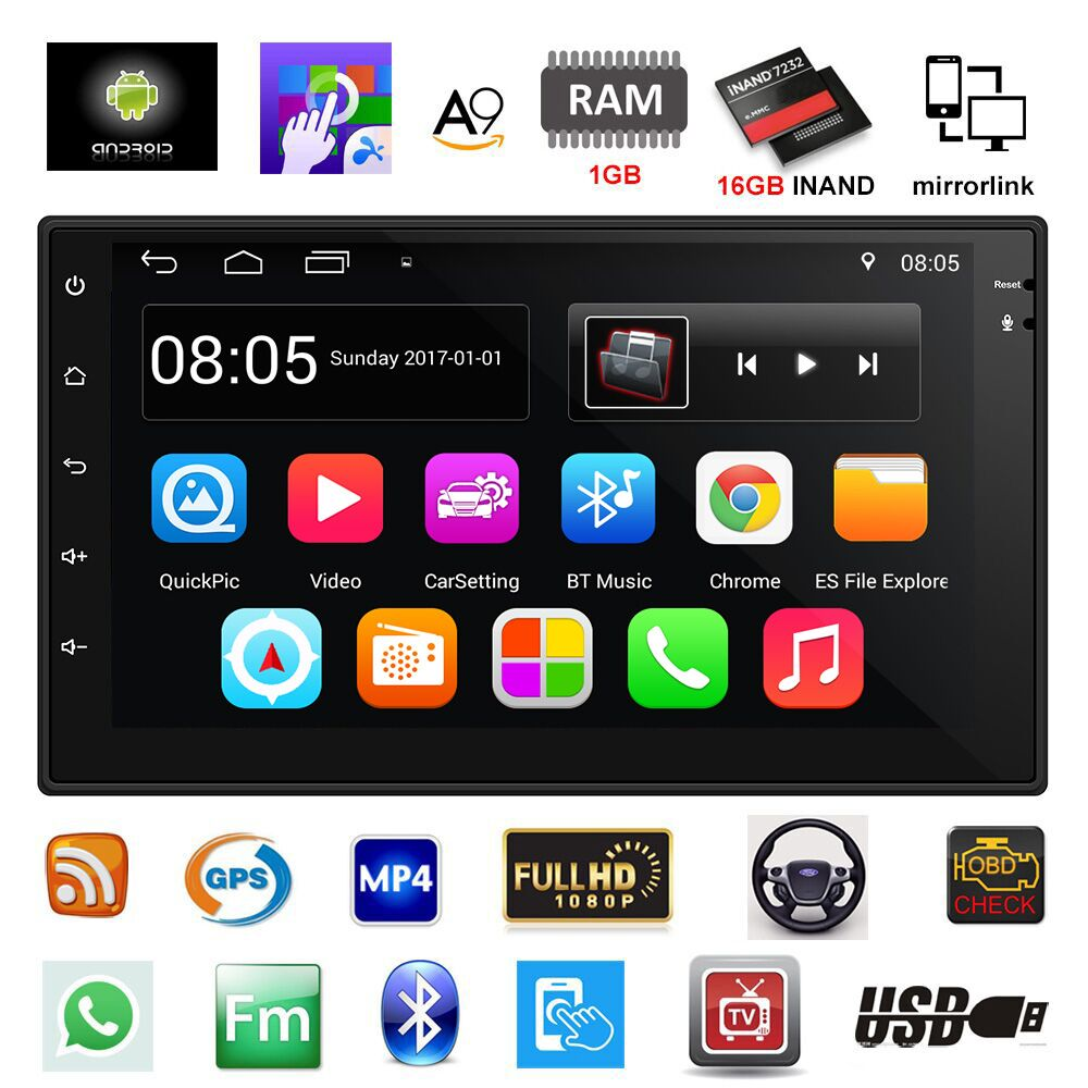 2 Din Autoradio di Navigazione GPS Android 6.0 Car Audio Player Quad Core Touch Screen Auto Lettore radio Bluetooth USB Autoradio