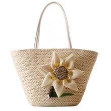 купить Summer Ladies Straw Bag Pure Hemp Hand Made Woven Lovely Big Flower Decoration Handbag New Ladies Shopping Travel Tote Bag по цене 1041.45 рублей