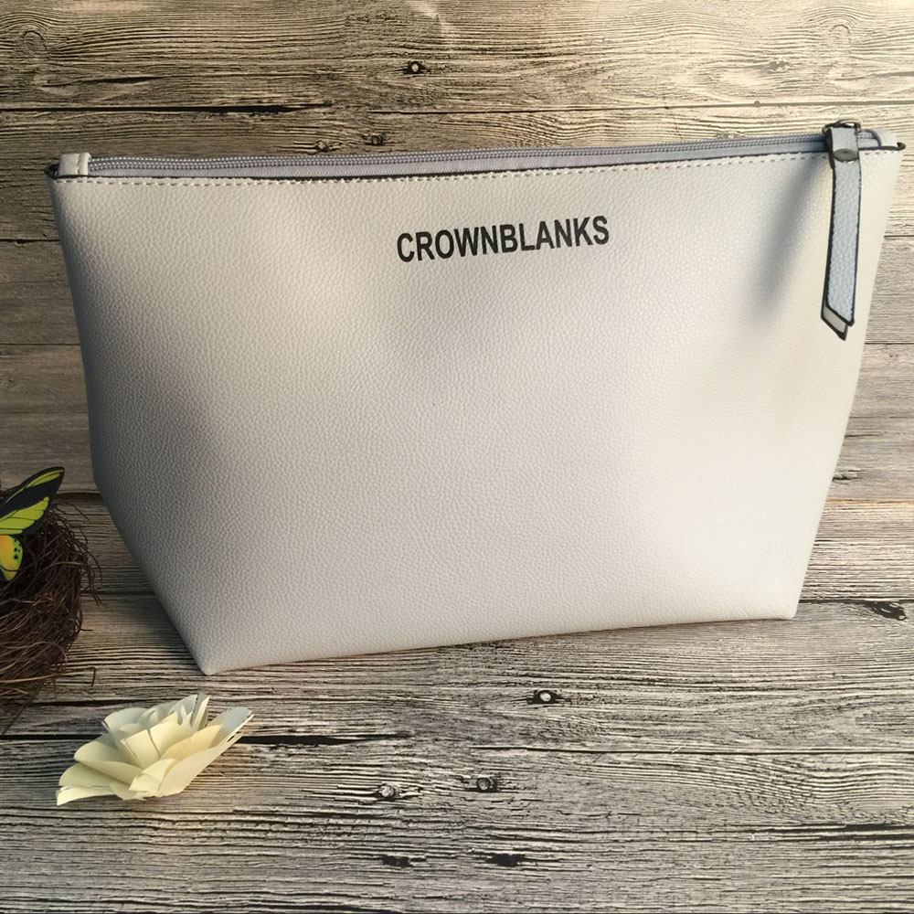 CROWNBLANKS Women Faux Leather Zipper Pouch Bag Perfect Quality Polyester Linning Lady Makeup Bags Can be