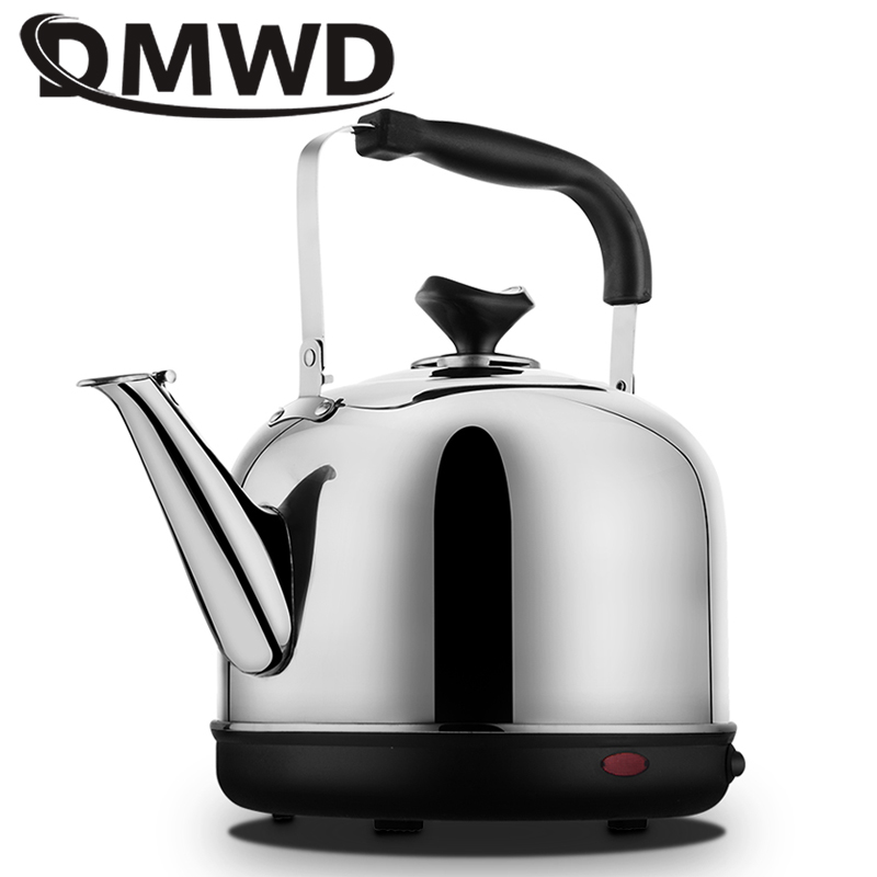 DMWD Electric kettle 4L Stainless Steel thermal insulation hot water heating quick Bolier Boiling pot Safety Auto-off teapot EU dmwd long spout mouth electric kettle hot water boiler quick heating tea pot 304 stainless steel drip boiling coffee pot 1 2l eu