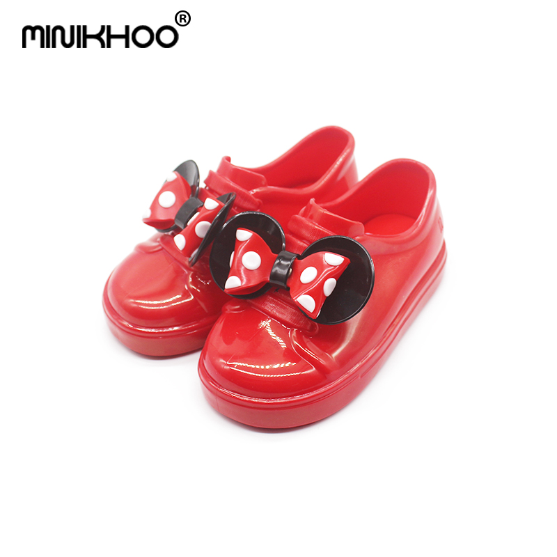 Mini Melissa 2018 New Mickey Bowknot Casual Girl Jelly Shoes Candy Fruit Jelly Shoes Waterproof Melissa Sandals Melissa Shoes