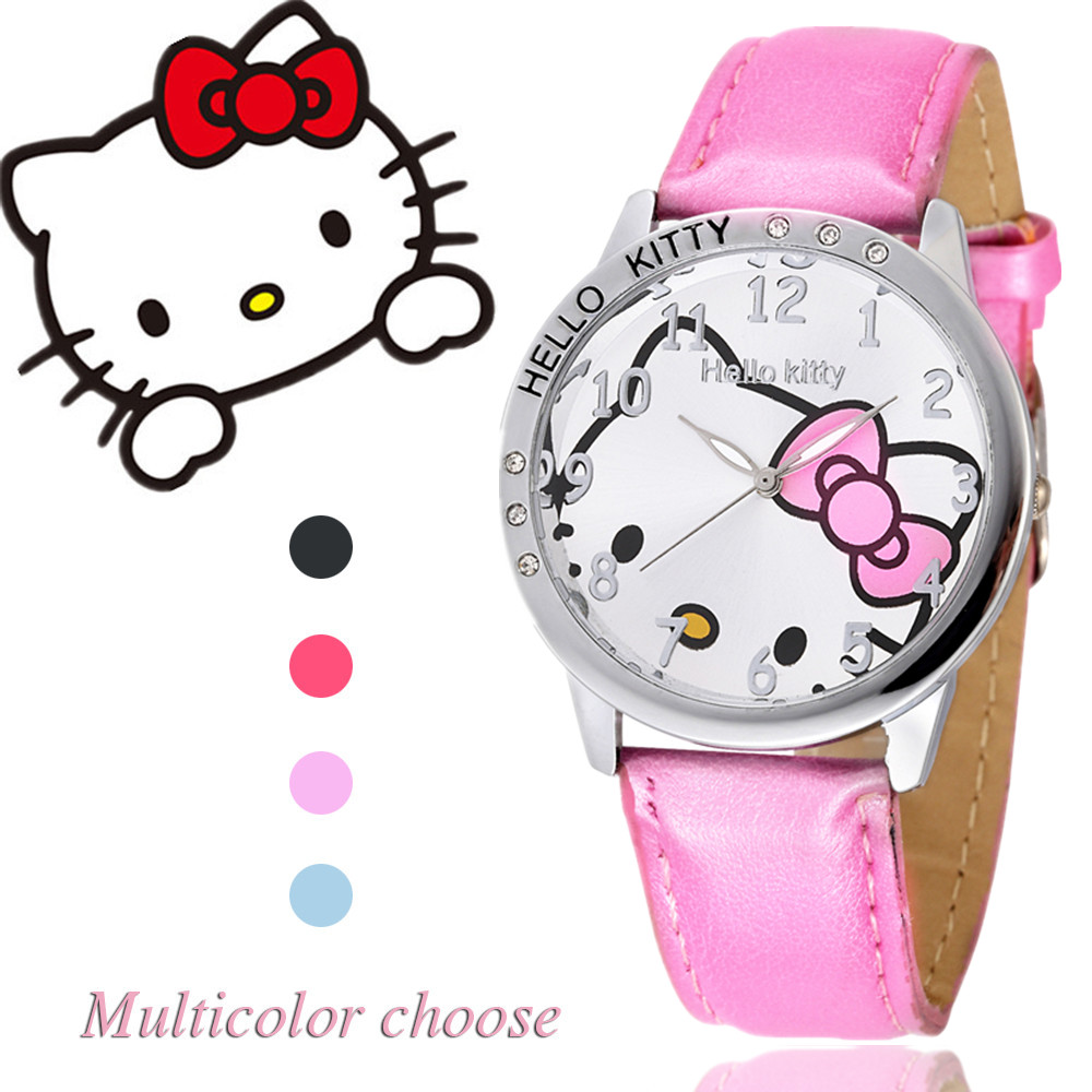 Hello Kitty Watch Women Kid Quartz WristWatch Cartoon Leather Cute Watch Children 3D Crystal Fashion Hot Relojes Christmas Gift 2017 hello kitty cartoon watches kid girls leather straps wristwatch children hellokitty quartz watch montre enfant