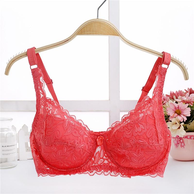 BRZFMRVL spring summer thin women B C lace bra female lingerie deep V sexy gathered Push Up Shaping Bra 32 34 36 38 40