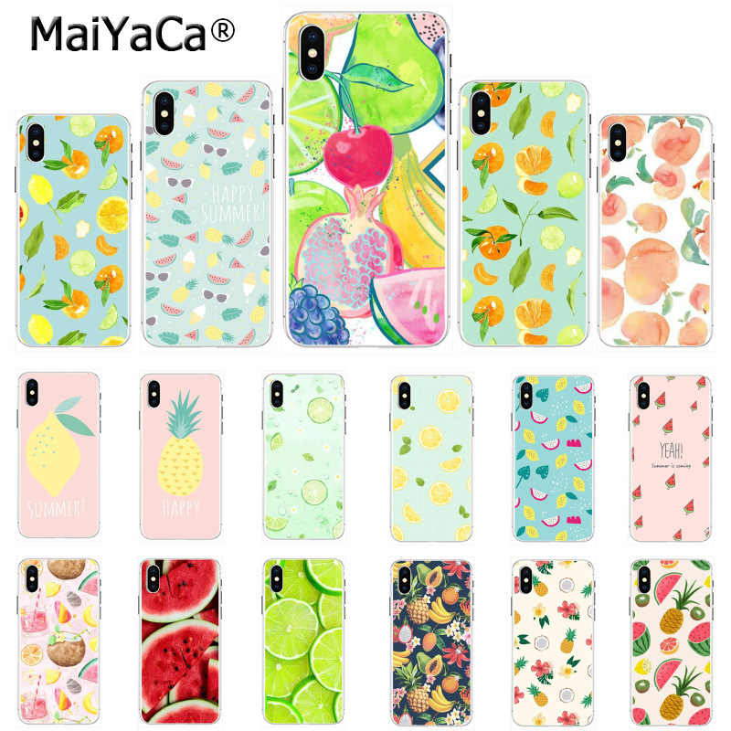 MaiYaCa Phone Case Summer fruit pineapple watermelon banana lemon Cool for iPhone 8 7 6 6S Plus X 5 5S SE 44S XS XR XS