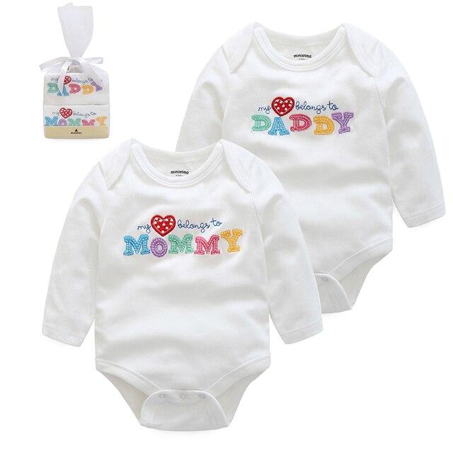 2017 New Baby Girls Clothing I Love Mommy Daddy Baby Bodysuits 100