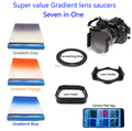 Seven in One Saucers 3piece Gradient Lens Gray-Blue-Orang-Connecting Ring-Lens Hood-Lens Holder-Filter Bag Camera Filter