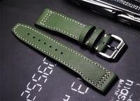 2019 high quality 20 21mm Army Green Calfskin Men Universal Watch Straps Handmade fashion Watchbands For iwc series Wristband