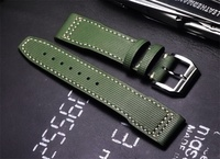 2019 high quality 20 21mm Army Green Calfskin Men Universal Watch Straps Handmade fashion Watchbands For iwc series Wristband