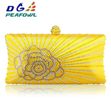DG Peafowl Flap Crystal Floral Women Evening Clutch Bag for 2019 India Wallet Designer Lady Bags Handbags Wedding Purse 3 Colors luxury crystal women clutch womens flower crystal designer clutch bags 12 colors available yls f08