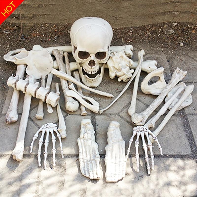 שק של עצמות ליל כל הקדושים שלד עצמות 28 חתיכות בתוך תיק מחית התיק רדוף בית אימה אביזרים תפאורה