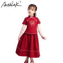 ActhInK 2019 High Quality 2Pcs Girls Cheongsam Chinese Style Clothing Set Summer Linen Dress Tang Suit